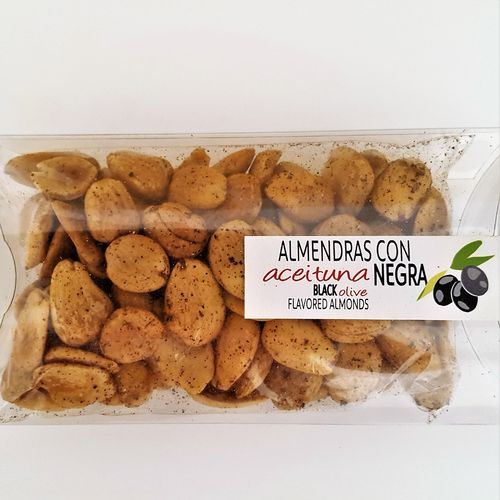 Fried almonds with black olive. 100g snack