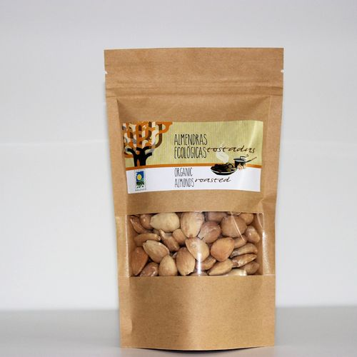 Organic roasted almonds. 150g kraft bag