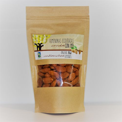 Organic unblanched almonds. 150g kraft bag