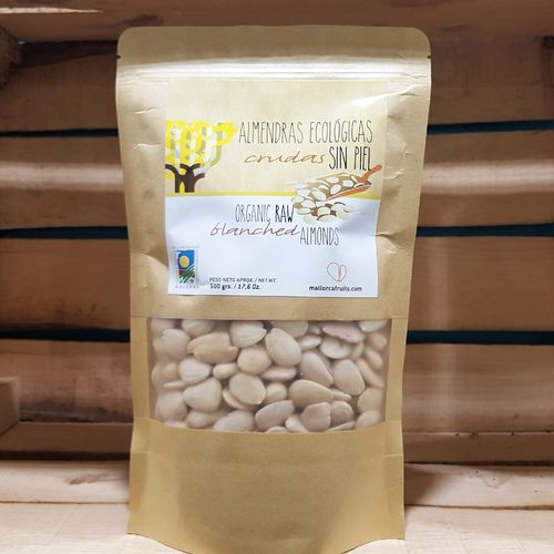 Organic blanched almonds. 150g kraft bag