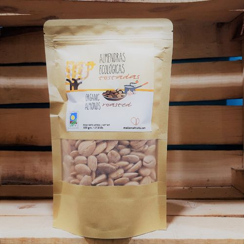 Organic roasted almonds. 500g kraft bag
