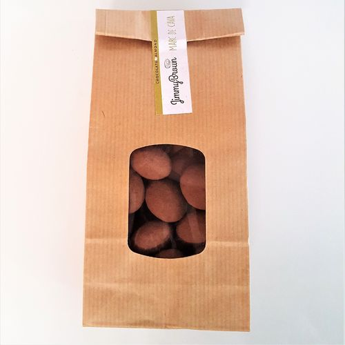 """Jimmy Brown"" Almendras recubiertas de chocolate sabor Marc de cava. Bolsa Kraft 225g"